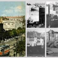 Ściana kamienicy przy ul. Marszałkowskiej 105 pokryta muralami reklamowymi, fot. dzięki uprzejmości J. Zielińskiego