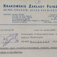 Krakowskie Zakłady Futrzarskie, nagłówek pisma kierowanego do Stołecznego Przedsiębiorstwa Instalacji Reklam Świetlnych