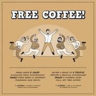 """Tymek Borowski, Free Coffee, plansza z wystawy """"Miasto na sprzedaż"""""""